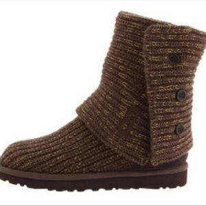 UGG BROWN KNIT SWEATER CARDY ROLL DOWN BOOTS 10